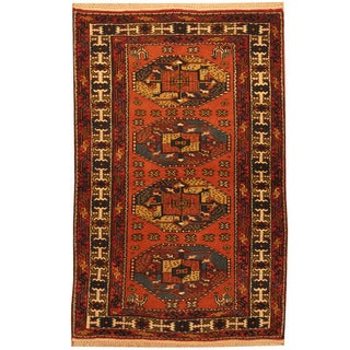 Herat Oriental Persian Hand-knotted Kurdish Wool Rug (4' x 6'4)