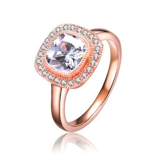 Collette Z Rose Gold Overlay Cubic Zirconia Queen Ring - White