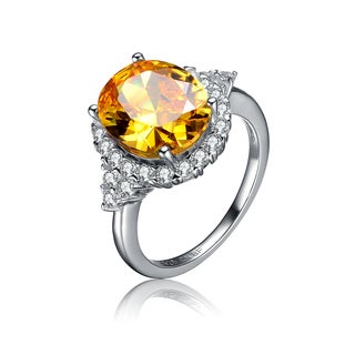 Collette Z Sterling Silver Yellow Cubic Zirconia Oval Ring Size 6