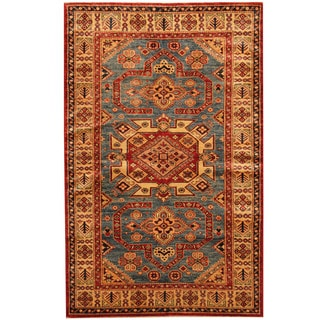 Herat Oriental Afghan Hand-knotted Super Kazak Wool Rug (4' x 6'3)