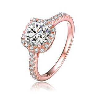 Collette Z Rose Gold Overlay Cubic Zirconia Classic Ring Size 6