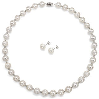 DaVonna Sterling Silver Sparkling Beads in Between 10-10.5mm White Freshwater Pearl Necklace and Stud Earrings Set, 18""