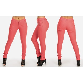 Women's Mid-rise Coral Pink Rayon, Nylon, and Spandex Stretchy Skinny Pants