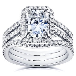 Annello by Kobelli 14k White Gold Radiant Forever Brilliant Moissanite and 3/5ct TDW Diamond Double Bands Bridal Set (GH, I1-I2)