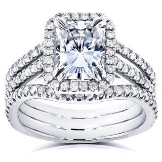 Annello by Kobelli 14k White Gold Radiant Forever Brilliant Moissanite and 3/5ct TDW Diamond Double Bands Bridal Set (GH, I1-I2)