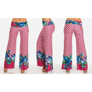 Women's Polyester and Spandex Stretchy Printed Palazzo Pants