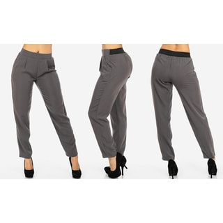 Women's Grey Polyester Junior-size High-waist Dress Pants