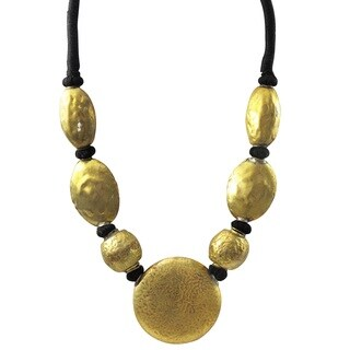 Luxiro Antique Gold-tone or Silver-tone Medallion Statement Necklace