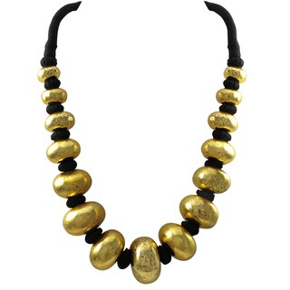 Luxiro Antique Gold-tone or Silver-tone Graduating Disc Statement Necklace