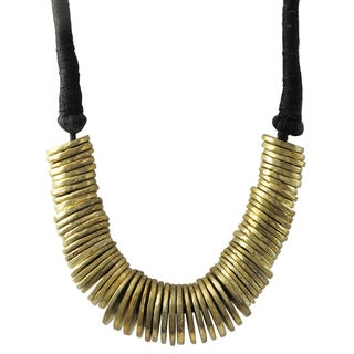 Luxiro Antique Gold-tone Graduated Disc Statement Necklace