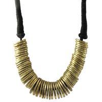 Luxiro Antique Gold-tone Graduated Disc Statement Necklace
