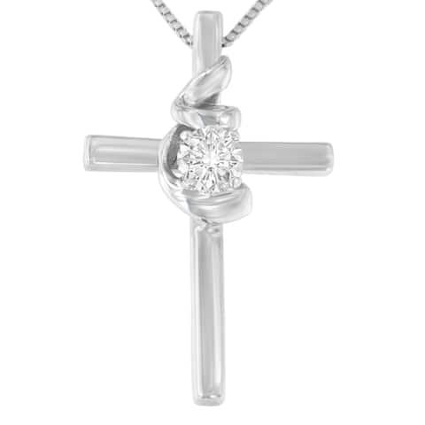 Espira 10K White Gold 1/10 ct. TDW Round Cut Diamond Cross Knot Pendant Necklace (I-J, I2-I3)