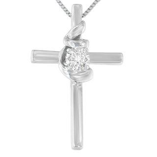 Espira 10k White Gold 1/10ct TDW Round-cut Diamond Cross Knot Pendant (H-I, I2-I3)