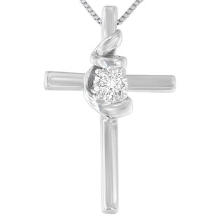 10K White Gold 1/10 CTTW Round Cut Diamond Cross Knot Pendant Necklace (H-I, I2-I3)|https://ak1.ostkcdn.com/images/products/13454585/P20143760.jpg?_ostk_perf_=percv&impolicy=medium