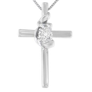 10K White Gold 1/10 CTTW Round Cut Diamond Cross Knot Pendant Necklace (H-I, I2-I3)
