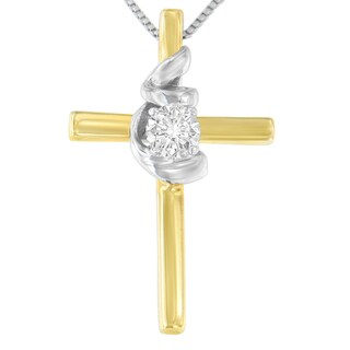 Espira 10k Two-Toned Gold 0.1 ct. TDW Cross Knot Diamond Pendant Necklace (H-I, SI2-I1)