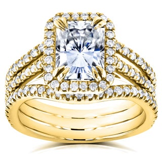 Annello by Kobelli 14k Yellow Gold Radiant Forever Brilliant Moissanite and 3/5ct TDW Diamond Double Band Bridal Set (GH, I1-I2)
