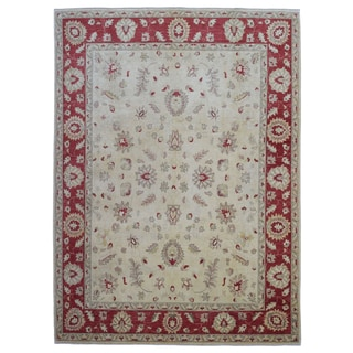 FineRug Collection Peshawar Beige/Red Wool Handmade Rug (8' x 9'12)