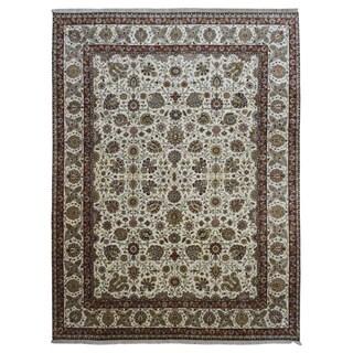 FineRugCollection Beige/ Green Wool Handmade Tabriz Rug (9'2 x 11'10)