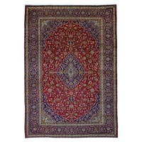 FineRugCollection Handmade Kashan Red and Blue Wool Rug - 9'10 x 14'3