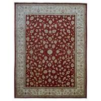 FineRugCollection Red/ Beige Wool Handmade Peshwar Rug - 8'9' x 11'5'