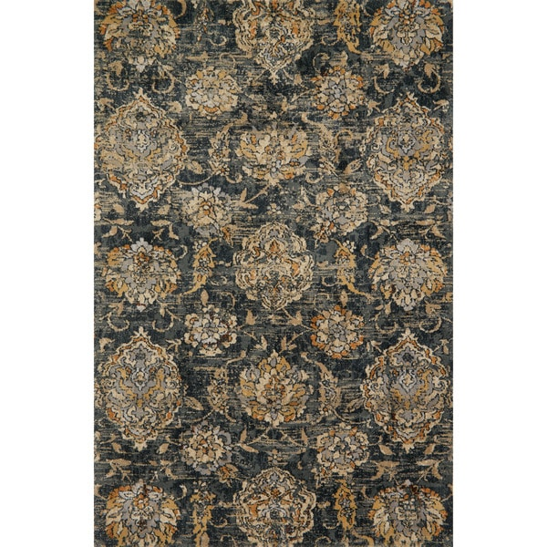 Shop Microfiber Transitional Charcoal Taupe Floral Rug