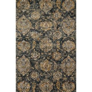 Microfiber Verona Charcoal Floral Rug (6'7 x 9'2)