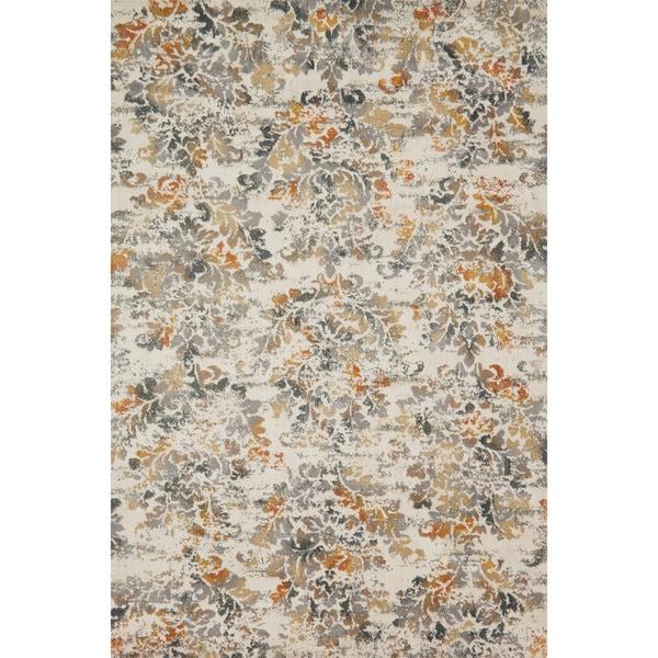 Floral Damask Area Rug: Microfiber Verona Ivory/ Beige Floral Rug