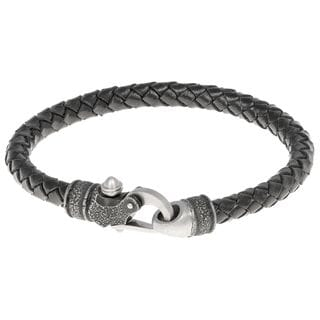 Braided Leather Bracelet with Stainless Steel Clasp