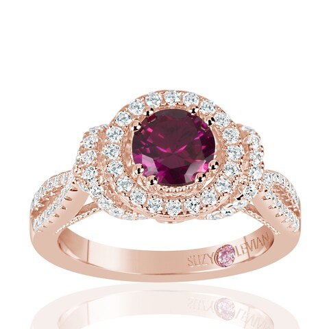 Suzy Levian Rose Sterling Silver Created Ruby and White Cubic Zirconia Anniversary Ring - Pink