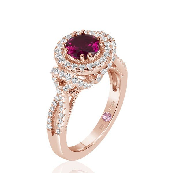 Shop Suzy L Rose Sterling Silver Created Ruby And White Cubic