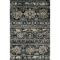 Microfiber Transitional Distressed Ornate Rug - 6'7 x 9'2