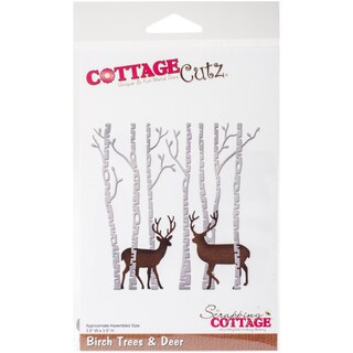 "CottageCutz Die-Birch Trees & Deer, 3.5""X3.5"""
