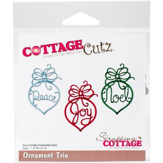 "CottageCutz Die-Ornament Trio, 1.3""X2""