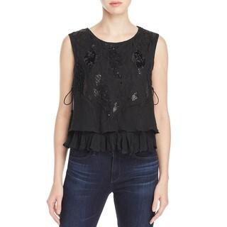 Elie Tahari Women's Cartlyn Black Silk Beaded Blouse