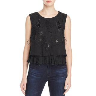 Elie Tahari Women's Cartlyn Black Silk Beaded Blouse