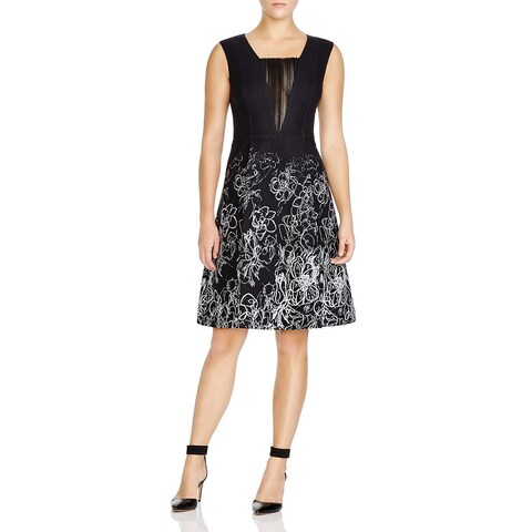 Elie Tahari Women's Lindsay Black Floral Scribble Dress