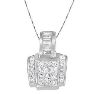 14k White Gold 2 2/5ct TDW Princess and Baguette-cut Diamond Geo Pendant (H-I,SI1-SI2)