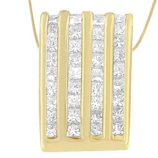 14k Yellow Gold 2 1/3ct TDW Princess-cut Diamond Block Pendant (H-I, SI1-SI2)