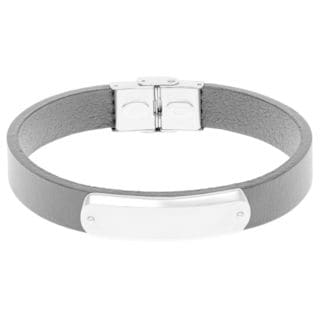Leather Identification Men's Bracelet with Stainless Steel Clasp