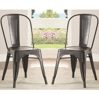 Vintage Distressed Rustic Industrial Design Black Metal Dining Chairs (Set of 4)