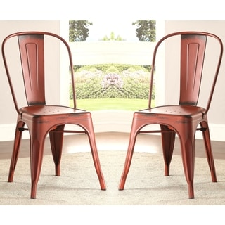 Vintage Distressed Rustic Industrial design Red Metal Dining Chairs (Set of 4)