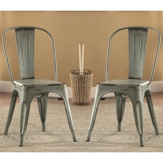 Vintage Distressed Rustic Industrial Design Green Metal Dining Chairs (Set of 4)