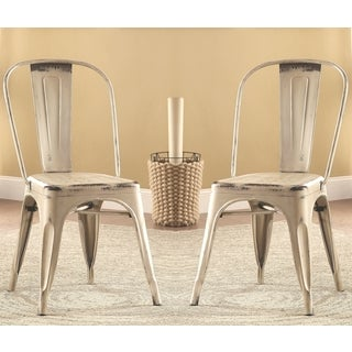 Vintage Distressed Rustic Industrial Design White Metal Dining Chairs (Set of 4)