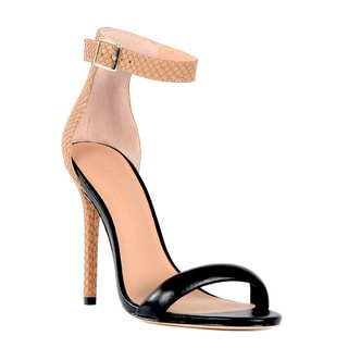 Halston Heritage Ester Leather and Snake Leather Heel Sandal