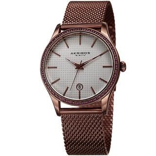 Link to Akribos XXIV Women's Quartz Swarovski Crystal Brown Mesh Bracelet Watch Similar Items in Women's Watches