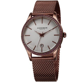 Akribos XXIV Women's Quartz Swarovski Crystal Brown Mesh Bracelet Watch