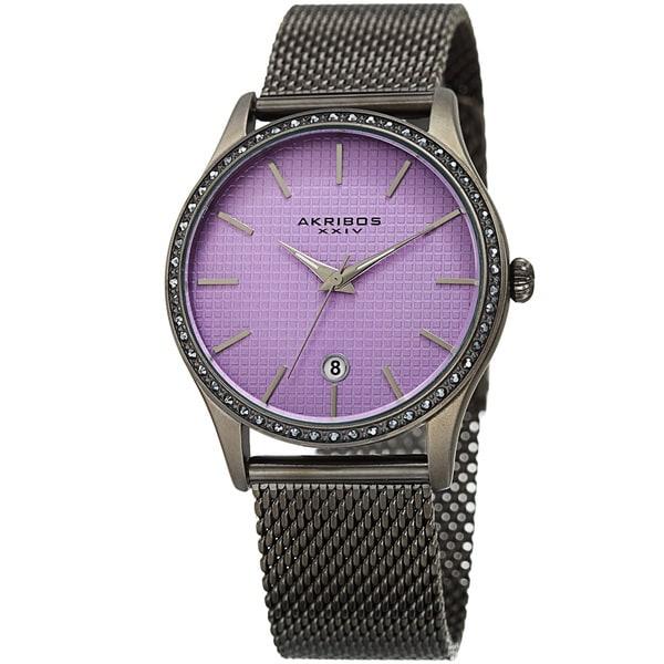 Akribos XXIV Women's Quartz Swarovski Crystal Purple Grey Mesh Bracelet Watch