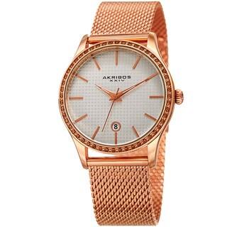 Link to Akribos XXIV Women's Quartz Swarovski Crystal Rose-Tone Mesh Bracelet Watch Similar Items in Women's Watches