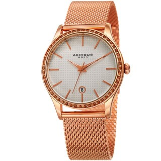 Akribos XXIV Women's Quartz Swarovski Crystal Rose-Tone Mesh Bracelet Watch